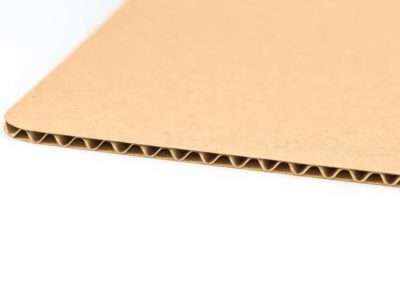 Three ply corrugated cardboard – type B flute with brown face ply