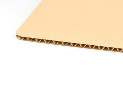 Three ply corrugated cardboard – type C flute with brown face ply